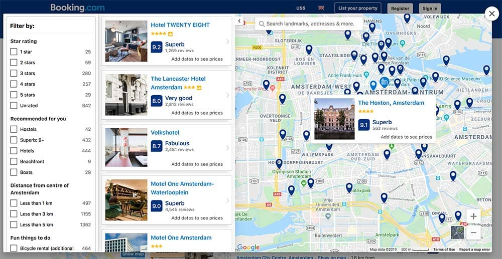 Map Booking.com review