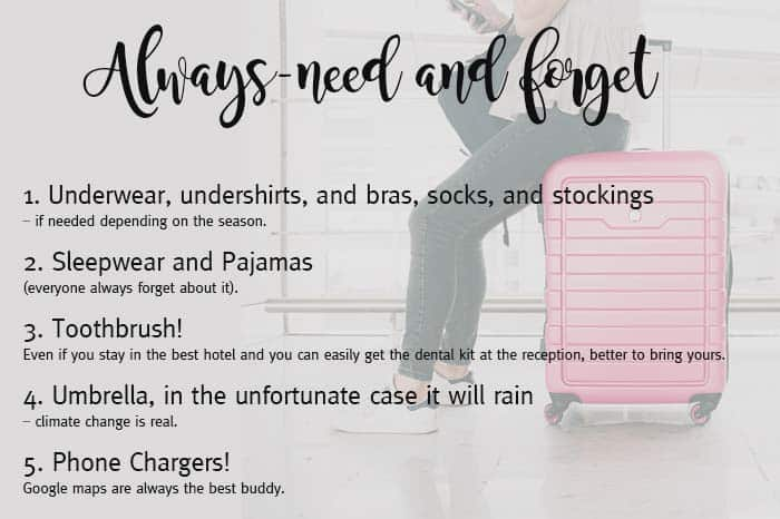 Always-need and forget packing list